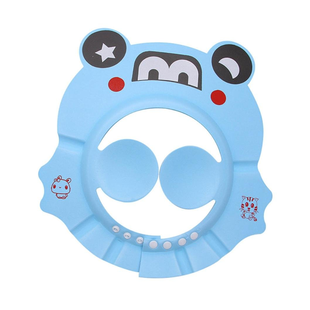 Nesee Soft Adjustable Baby Child Kids Shampoo Bath Shower Cap Hat Eye Ear Safety Protection Shield from Water Wash Hair Cap Hair Cutting protect (Blue)