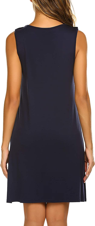 Ekouaer Women Sleeveless Nightshirt Nursing Nightgown Breastfeeding Sleep Dress Navy Blue