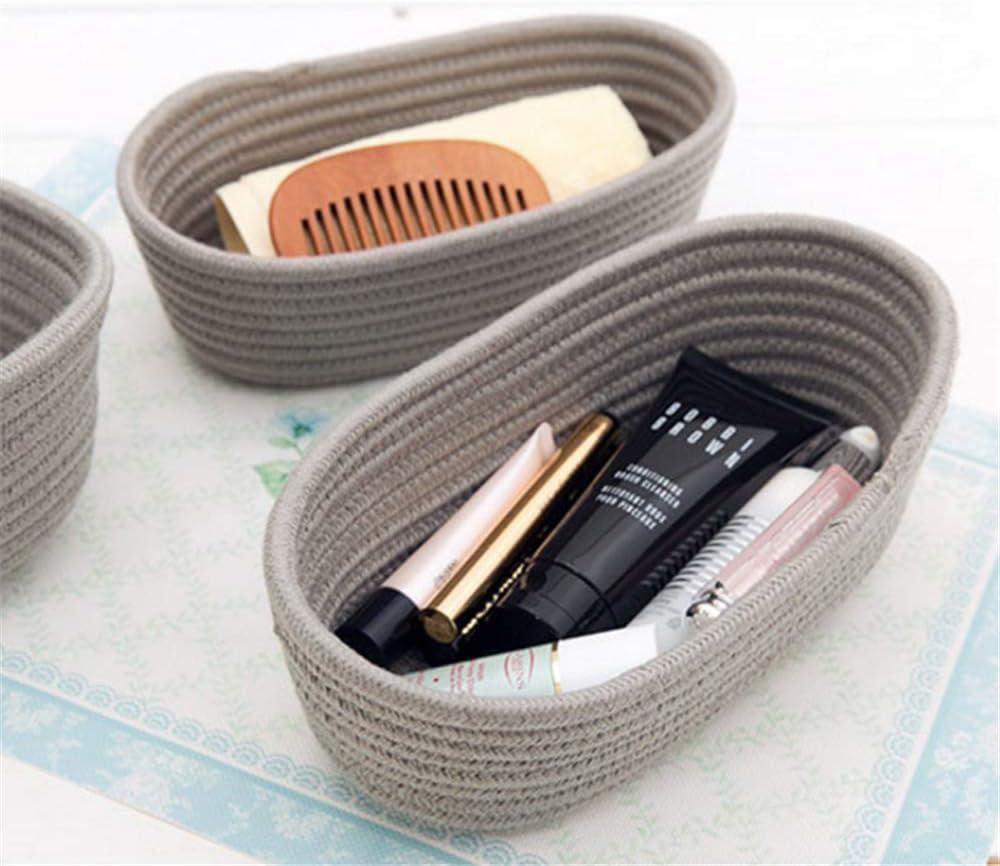 organizador para juguetes cosas peque/ñas beige beige Talla:L caja de almacenamiento Esoes Cestas de almacenamiento de cuerda de algod/ón plegables para guarder/ía maquillaje llaves