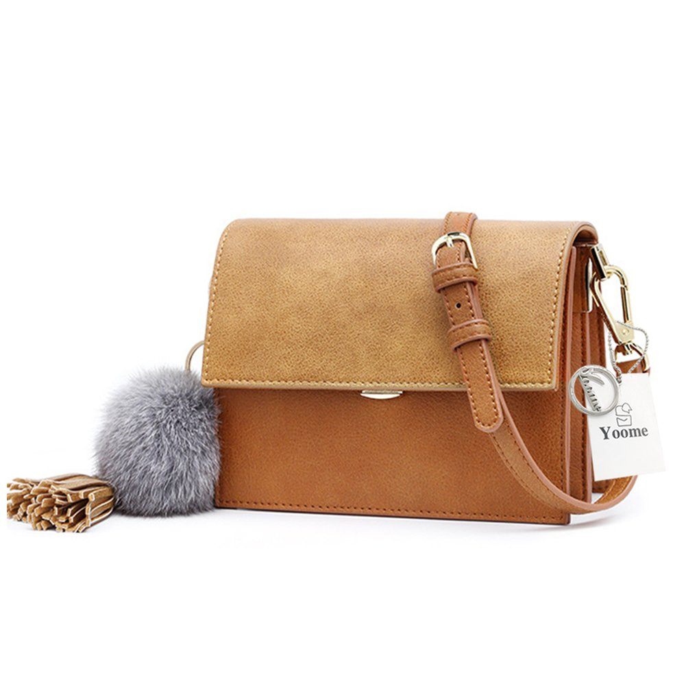 Yoome Retro Matte Leather Flap Bag Small Single Shoulder Bag Crossbody Bag with Cute Fur Ball & Leather Tassels - Brown