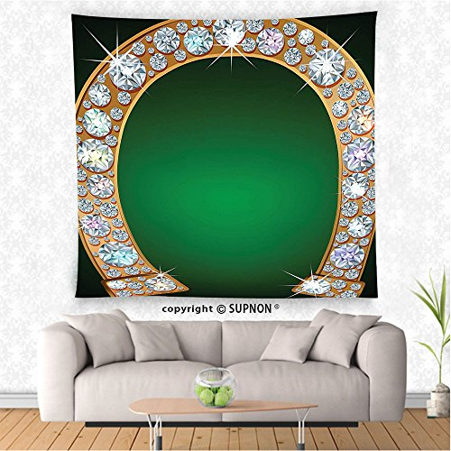VROSELV custom tapestry Horseshoe Decor Tapestry Golden Horseshoe with Diamonds Fashion Treasure Jewelry Print Wall Hanging for Bedroom Living Room Dorm Green and White (Antique Treasures Poster Bed)