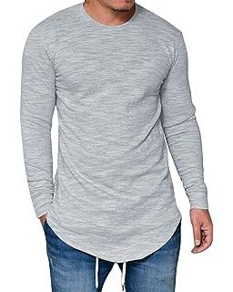 MODCHOK Herren Sweatshirt Shirt Hemd Langarmshirt Longsleeve Irregular Crew- Neck Basic Slim Fit 7749e38c27