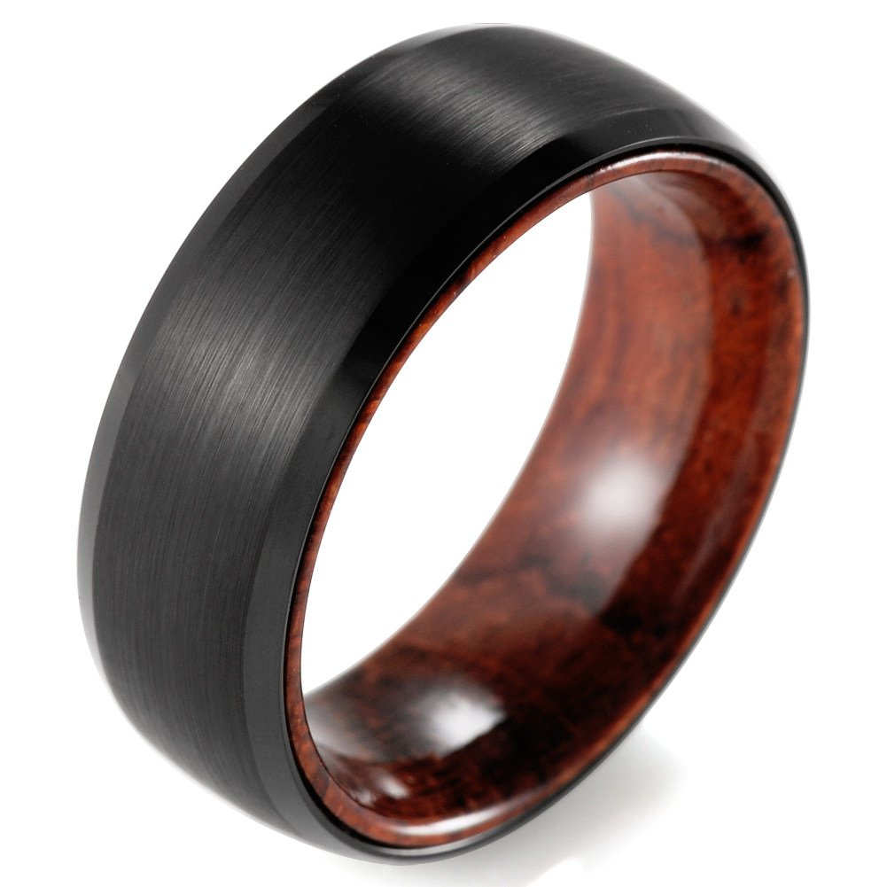 SHARDON Men's 8mm Black Beveled Brushed Tungsten Wedding Ring with Wood Inner Size 10.5