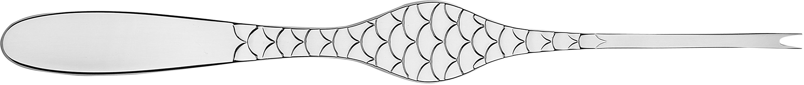 Alessi''Colombina fish'' Shellfish Forks in 18/10 Stainless Steel Mirror Polished (Set of 6), Silver
