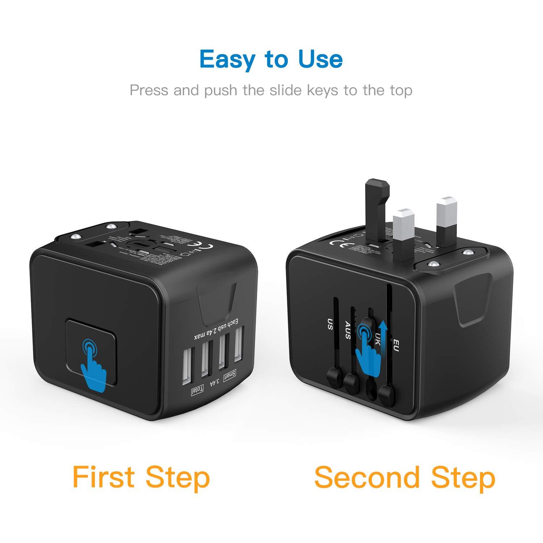 Reisestecker Reiseadapter universal einsetzbar für mehr als 150 Ländern, z.B. USA, Australian, UK, Europa uvm, 100-240V AC, mit eingebauter Sicherung, Reiseadapter mit 4 USB Aufladung