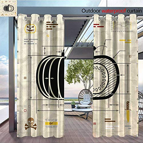BlountDecor Balcony Curtains Pumpkin Silhouette as Technical Blueprint Drawing Outdoor Patio Curtains Waterproof with Grommets W72 x L84/Pair ()