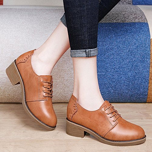 KPHY Primavera Los Estudiantes Bromeando Ocio Confort Zapatos De Tacon Bajo Resistencia Al Deslizamiento Talón Aspero Y Zapatos De Mujer. brown