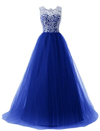 Barbella Womens Long Prom Dress Sleeveless Lace Tulle Floor Length Evening Gown, Royal Blue,