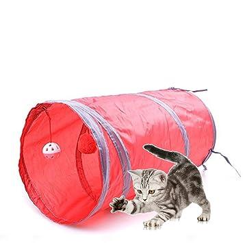 702858adf76526 Katzenspielzeug Katzentunnel, Morbuy Katze Spielzeug Hundenspielzeug  Spieltunnel Faltbarer Zelt 1-Wege-Spiel Tunnel