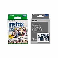 Fujifilm Instant Film 2-PACK BUNDLE SET, Wide MONOCHROME (10 exposures), Wide WHITE (20) for Fuji Instax Wide 300 Camera -Japan Import (A-Set)