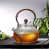 锤目纹日式耐高温玻璃壶 铜把电陶炉加厚提梁壶烧水壶玻璃茶壶功夫茶具煮茶器 (提梁壶)