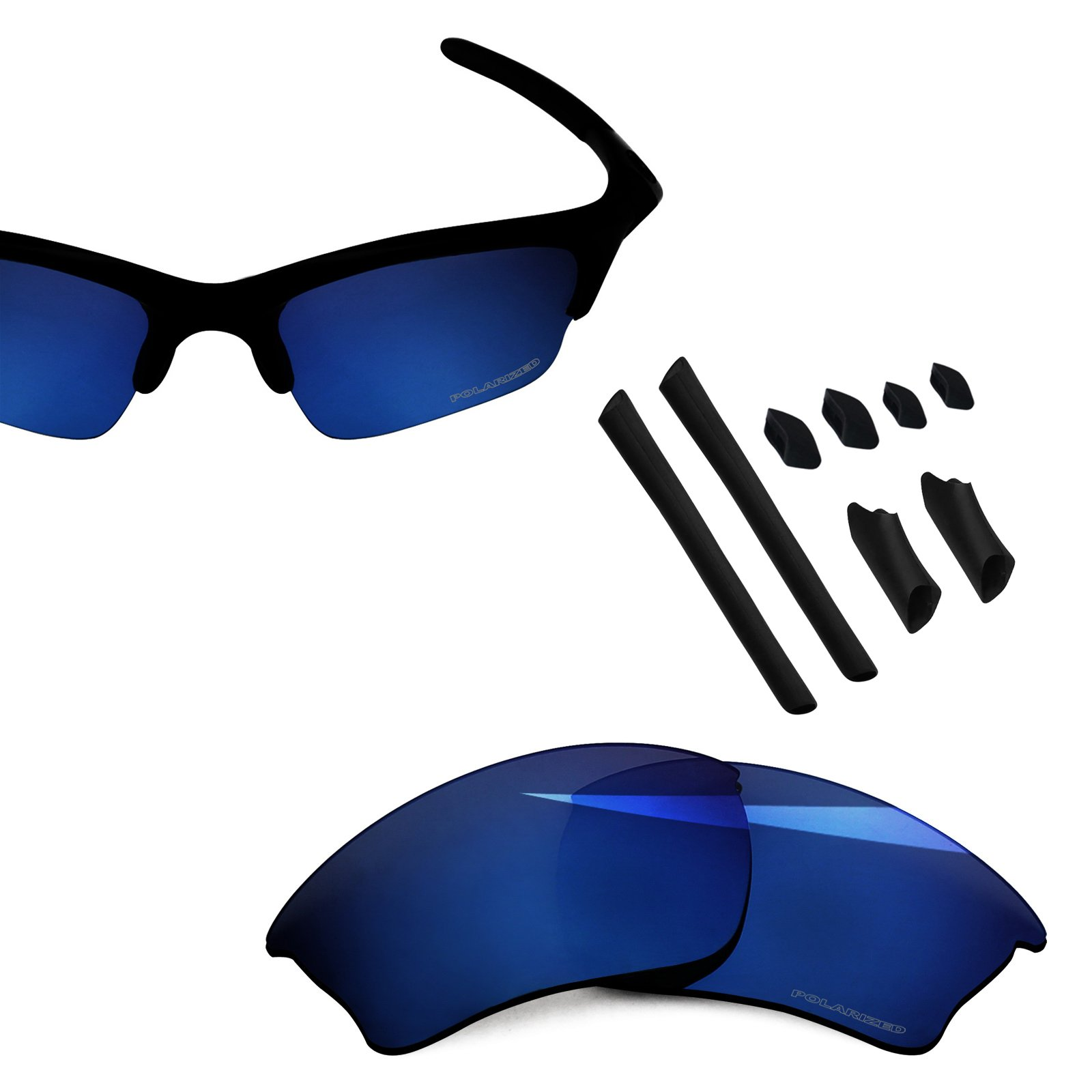 BlazerBuck Anti-salt Polarized Replacement Lenses & Sock Kit for Oakley Half Jacket XLJ - Midnight Blue