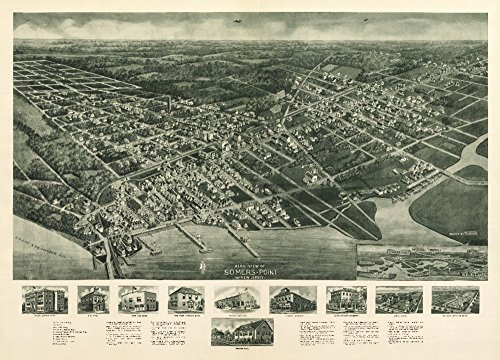 Somers Point, New Jersey - Panoramic Map (9x12 Fine Art Print, Home Wall Decor Artwork - Map Panoramic Nj