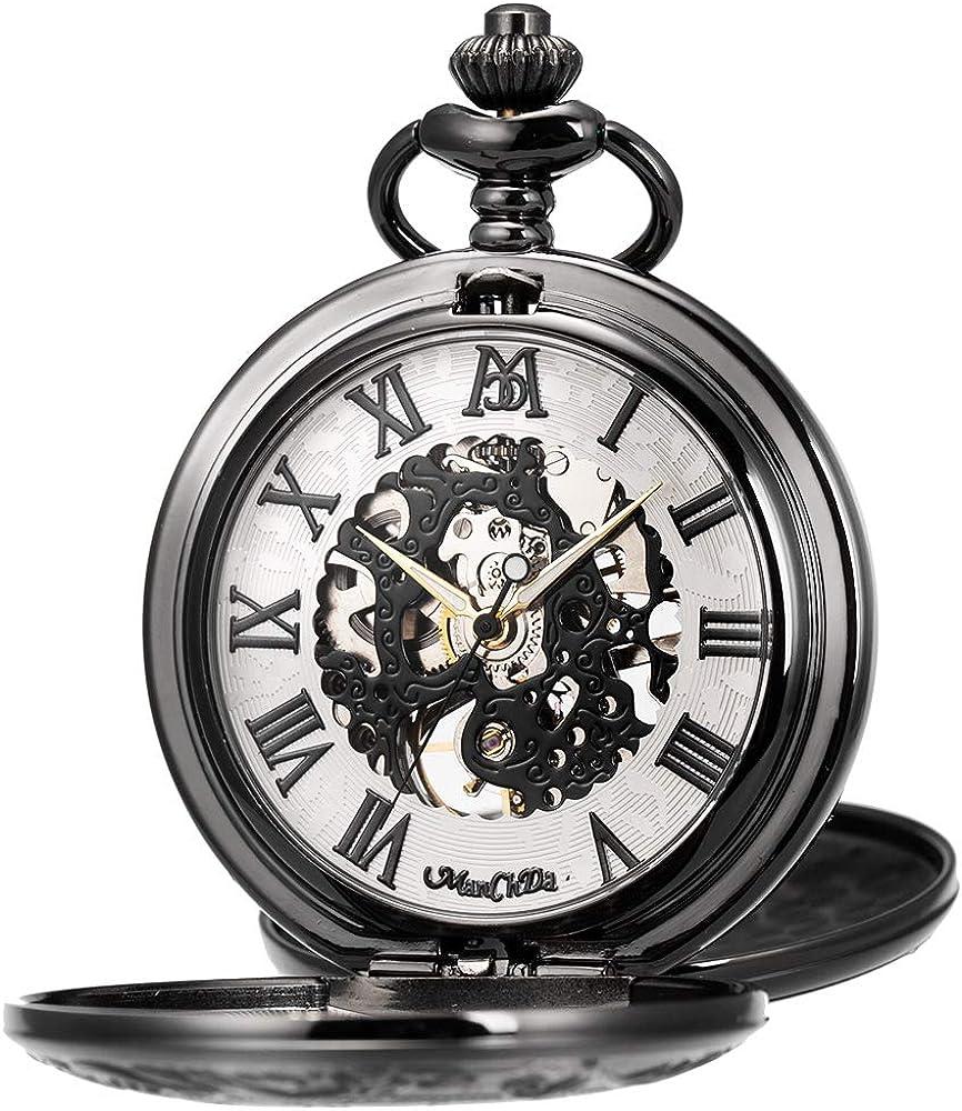 ManChDa Reloj de Bolsillo Hombre Mujer Relojes de Bolsillo con Cadena Relojes de Bolsillo mecánico Grabado Steampunk Números Romanos Mano Viento Reloj de Bolsillo: Amazon.es: Relojes