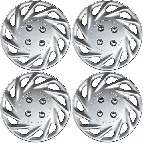 OxGord Hub-caps for 90-90 Hyundai Excel (Pack of 4) Wheel Covers 13 inch Snap On ()