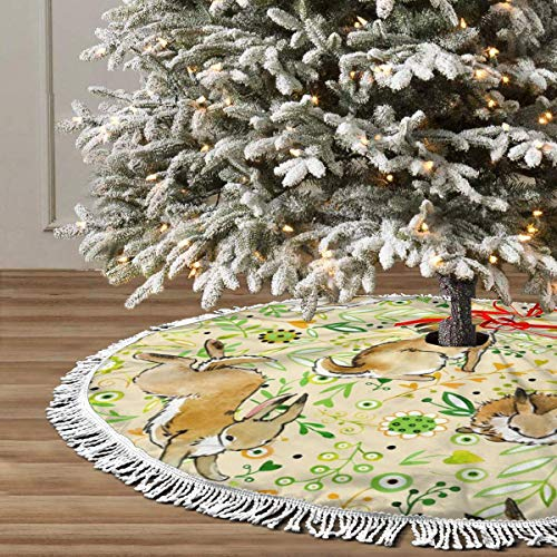JIAQI11 Vintage Flower Rabbit Bunny Easter Christmas Tree Skirts 48inches,Xmas Party Holiday Decorations,The Perfect, 3 Kinds of Size