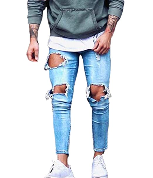 45ec85b0576a XARAZA Men s Stretchy Ripped Skinny Biker Jeans Taped Slim Fit Denim Pants (Broken  Hole