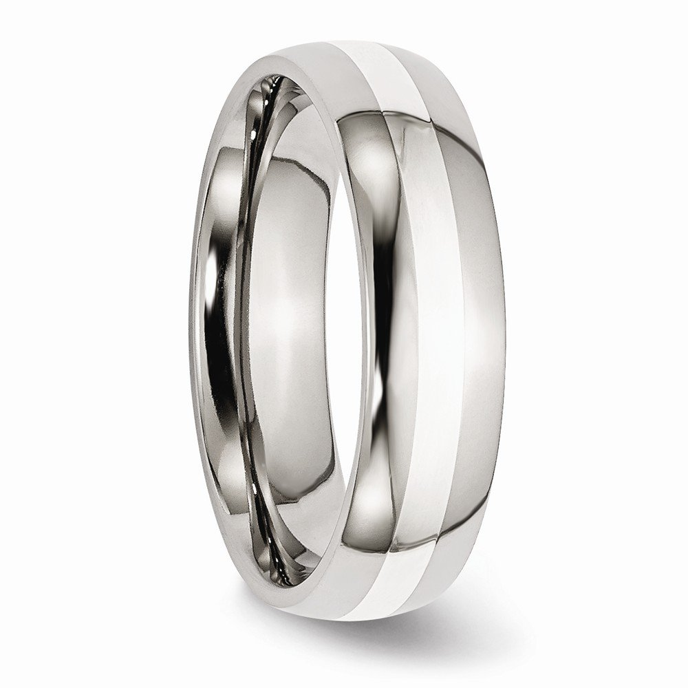 Jewel Tie Stainless Steel Sterling Silver Inlay 6mm Polished Wedding Band