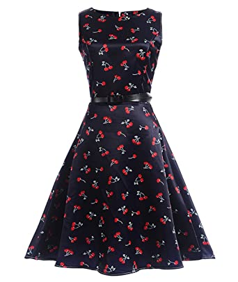FAIRY COUPLE Big Girls Sleeveless Vintage Floral Swing Party Dresses with Belt KHR002 Navy Cherry 150: Amazon.co.uk: Clothing