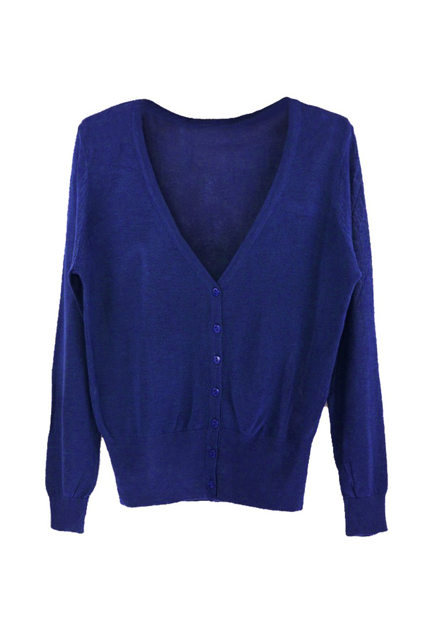 SODIAL(R) Casual Women Thin Sweaters Fashion V-neck Full Sleeve Women Knitwear Cardigans Women Coat Royal Blue