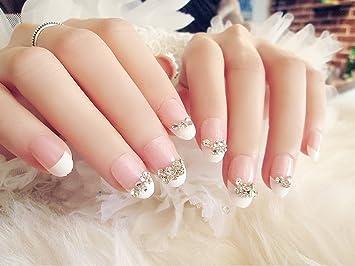 aukmla boda pcs de puntas de uñas postizas 24 Cubierta completa francés estilo Vintage caliente rosa cuadrado media uñas postizas uñas brillantes decoración ...