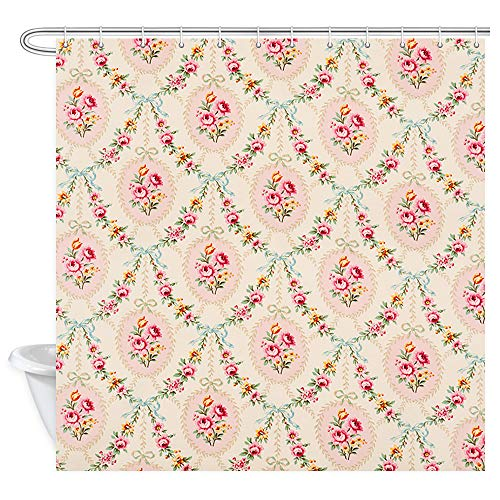DYNH Antique Floral Shower Curtain, Retro Rustic Tiny Pink and Yellow Flowers on A Soft Wallpaper Bath Curtains, Fabric Bathroom Shower Curtain Accessories 12PCS Shower Hooks, 69X70 - Wallpaper Retro Flower