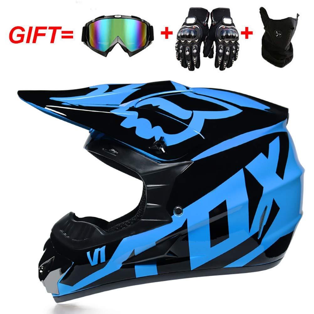TKTTBD Adult Motocross Helmet with Goggles Gloves Mask DOT Approved Dirt Bike ATV Motorbike Motorcycle Road Cross Downhill Full Face Helmets