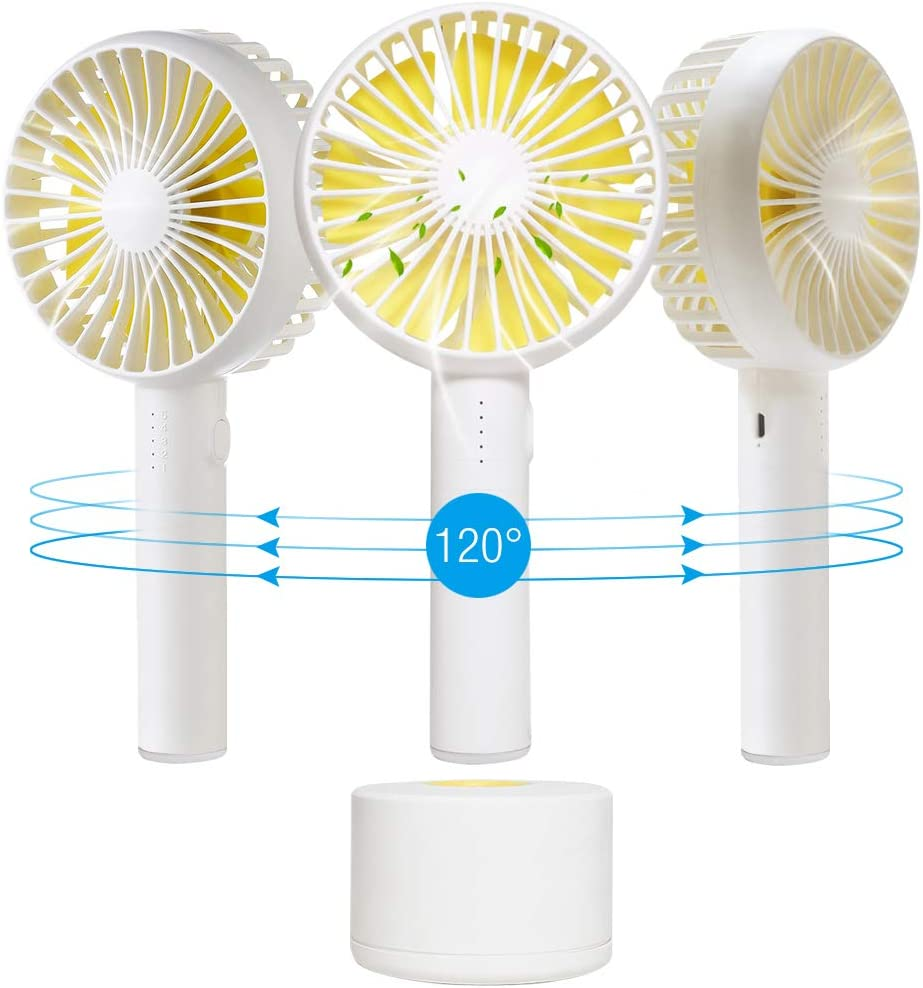 Mini Handheld Personal Fan, Portable Rotate USB Fan Battery Powered Electric Fan Rechargeable Small for Woman Men Kids Office Room Outdoor Travel Desk Table Computer