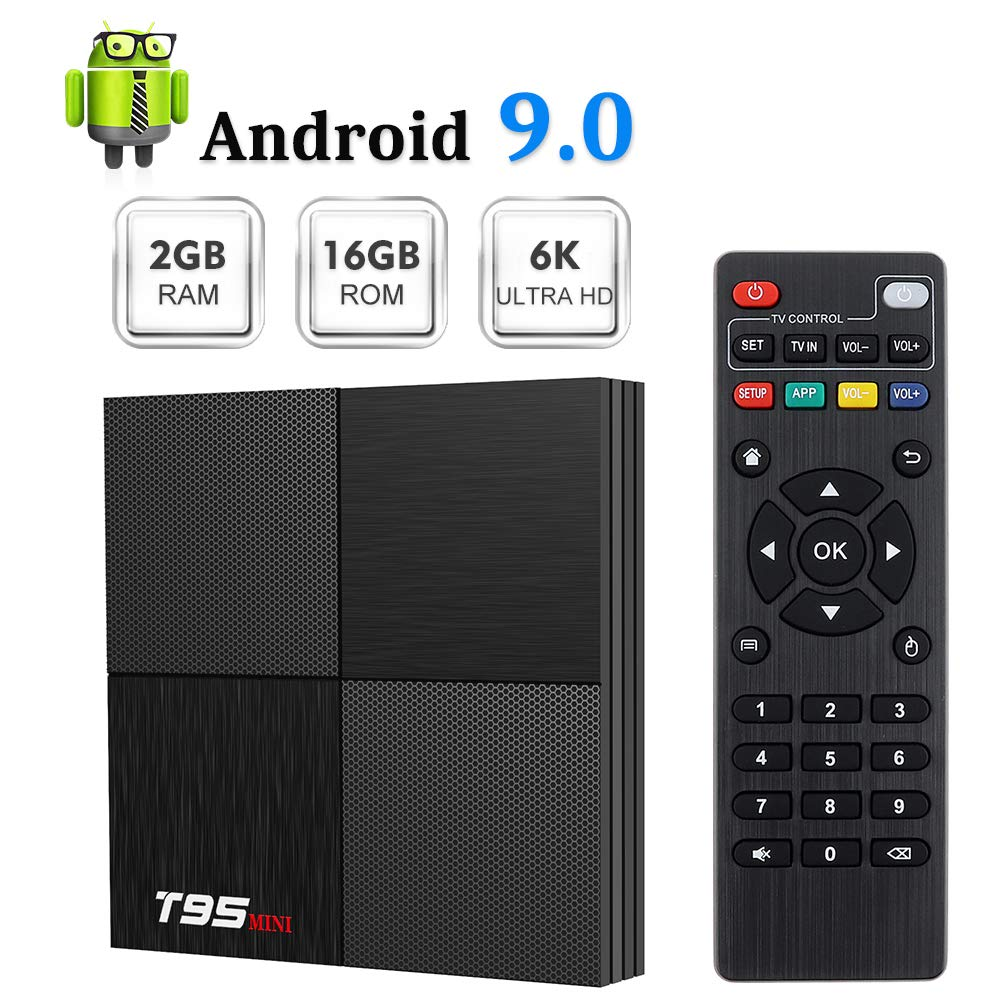 T95 Mini Android 9.0 TV Box, TUREWELL Android Box 2GB RAM 16GB ROM TV Box H6 Quadcore cortex-A53 Smart TV Box 2.4GHz WiFi 3D 6K Android Box Streaming Media Player by TUREWELL