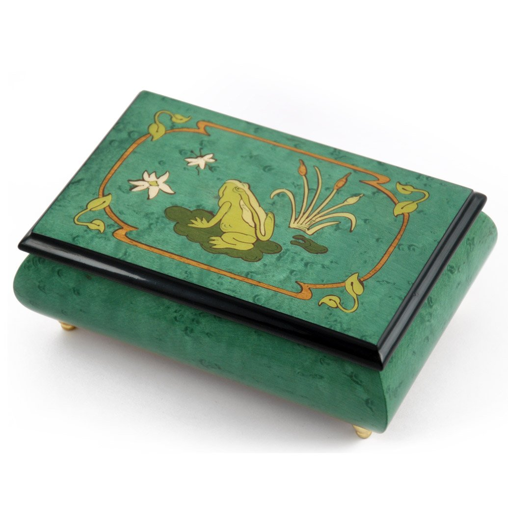 Brilliant Green Stain Musical Jewelry Box with Frog on Lily Pad with Fireflies Wood Inlay - Love Story (Love Story the Movie)
