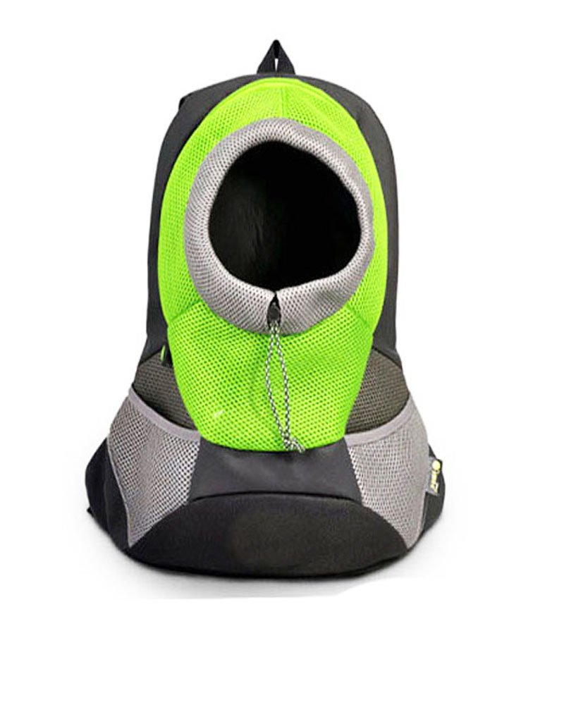 Surblue Portable Dog Backpack Front Pack Mesh Pouch for Puppy Cat Pet Carrier for Bike Hiking Outdoor Adjustable Shoulder Strap Green