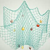 Bilipala Rustic Decorative Fishing Net Wall Decor with Seashells, Nautical Style Wall Hangings Ornaments, Aqua