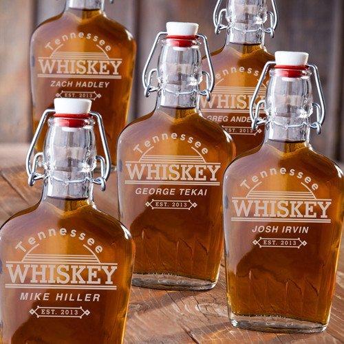 Set of 5 - Engraved Vintage Glass Flasks - Pocket Flasks - Tennessee Whiskey
