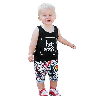 0554d056f14 Iuhan Toddler Baby Boy Clothes Set Summer Letter Tops Newborn Vest Print  Pants Shorts (6Months