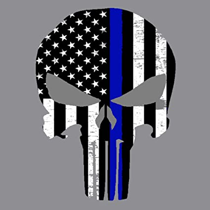 PUNISHER BLUE LINE POLICE CAR TRUCK LAPTOP WALL NOTEBOOK STICKER DECAL