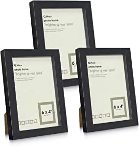 Q.Hou 4x6 Black Picture Photo Frame, 3 Packs, Real Glass Front for Tabletop or Mount(AU-QH-PF4X6-BK)