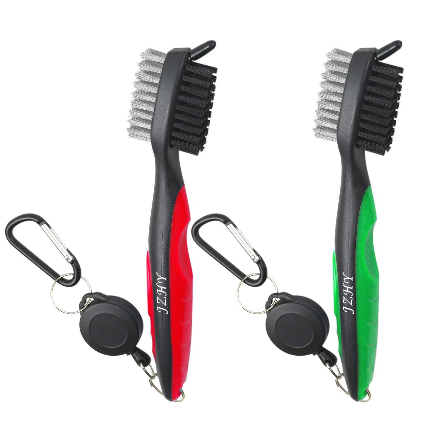 JZHY 2 Pack Golf Club cepillo ligero 2Ft cepillo de golf retráctil y Club Groove limpiador con Zip-line de aluminio Carabiner(rojo&verde)