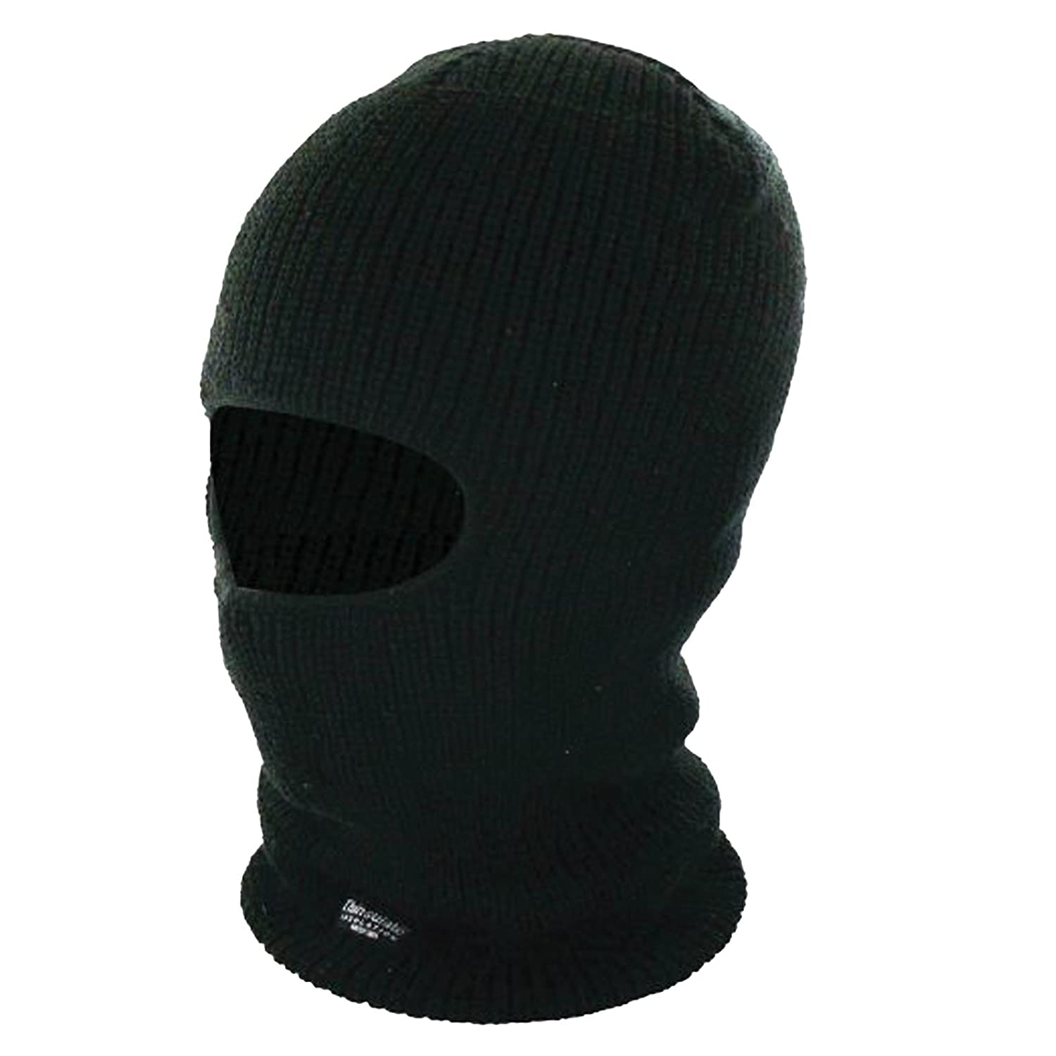 4f061e7b647 THINSULATE BALACLAVA MENS BLACK THERMAL FLEECE LINED OPEN FACE WINTER HAT  SNOW