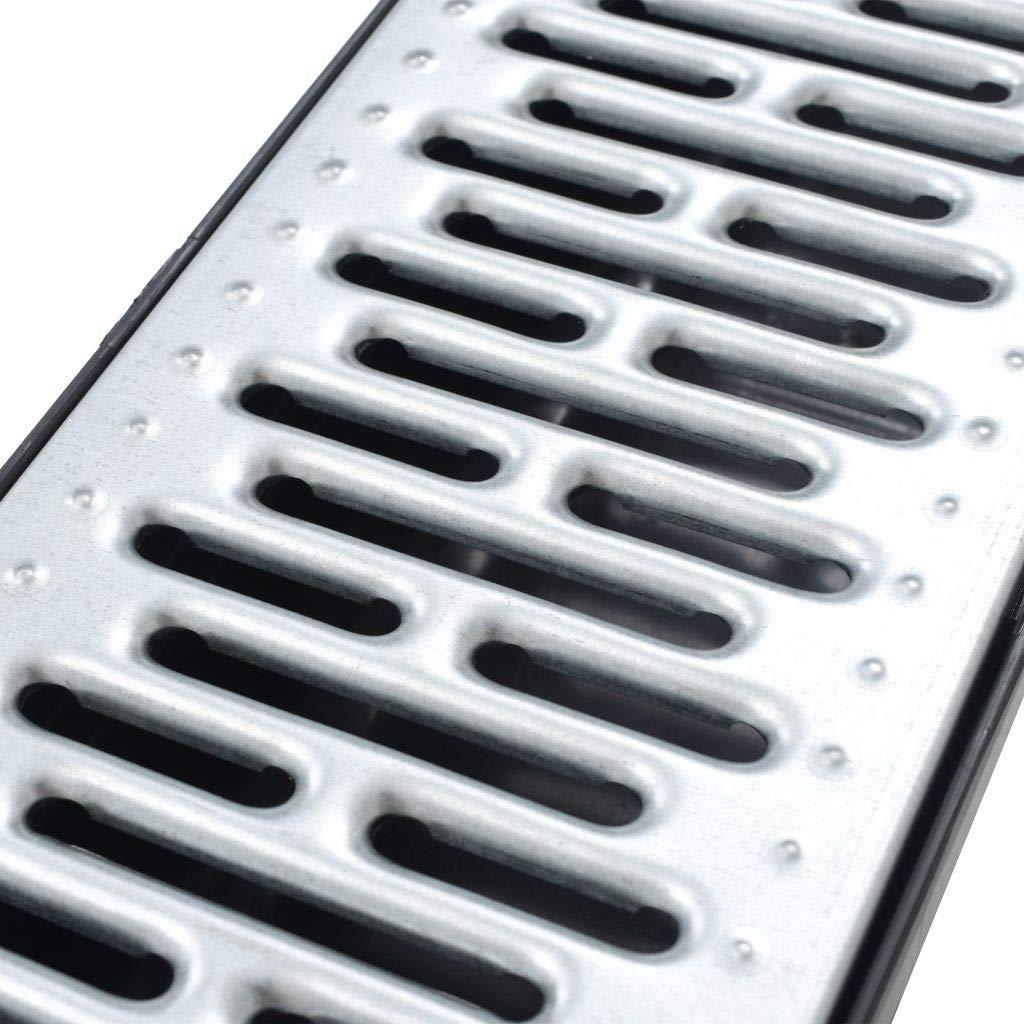 yorten Canales de Drenaje 6 Unidades con Rejillas de Acero Galvanizado 100 x 12,5 x 8 cm Negro y Plateado