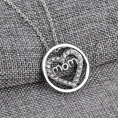 Collier argenté cercle coeur strass MOM