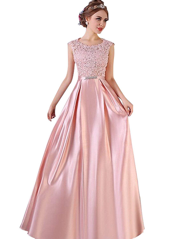 bluesh Pink Dressytailor Aline Scoop Neck Satin FloorLength Fabulous Appliques Lace Prom Dress