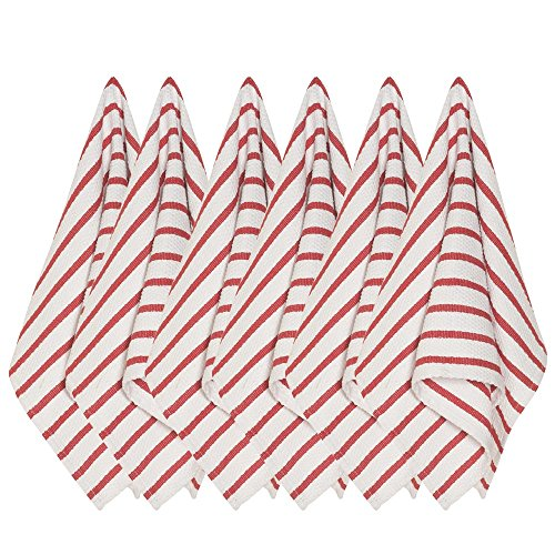 Now Designs Basketweave Kitchen Towel, Set of Six, Red