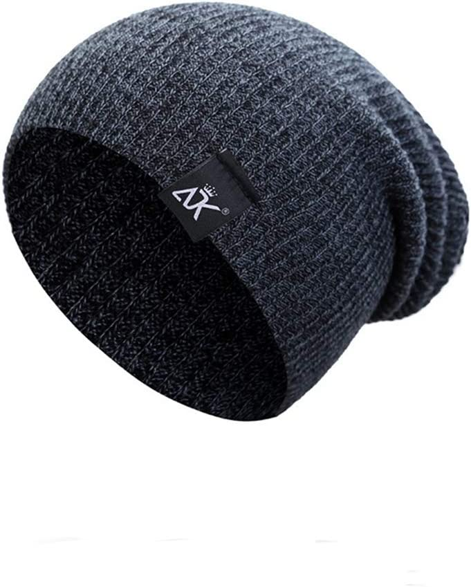 Winter Beanie Hat for Mens Warm Hats Solid Color Fleece Lined Cotton Knit Slouchy Thick Knitted Skull Cap