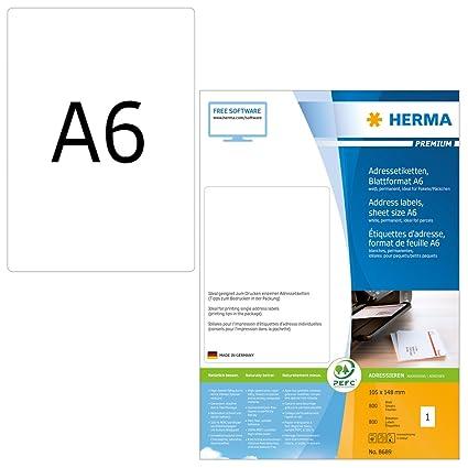 Herma 8689_ A6, 105 x 148 mm - Pack de 800 etiquetas de dirección ...