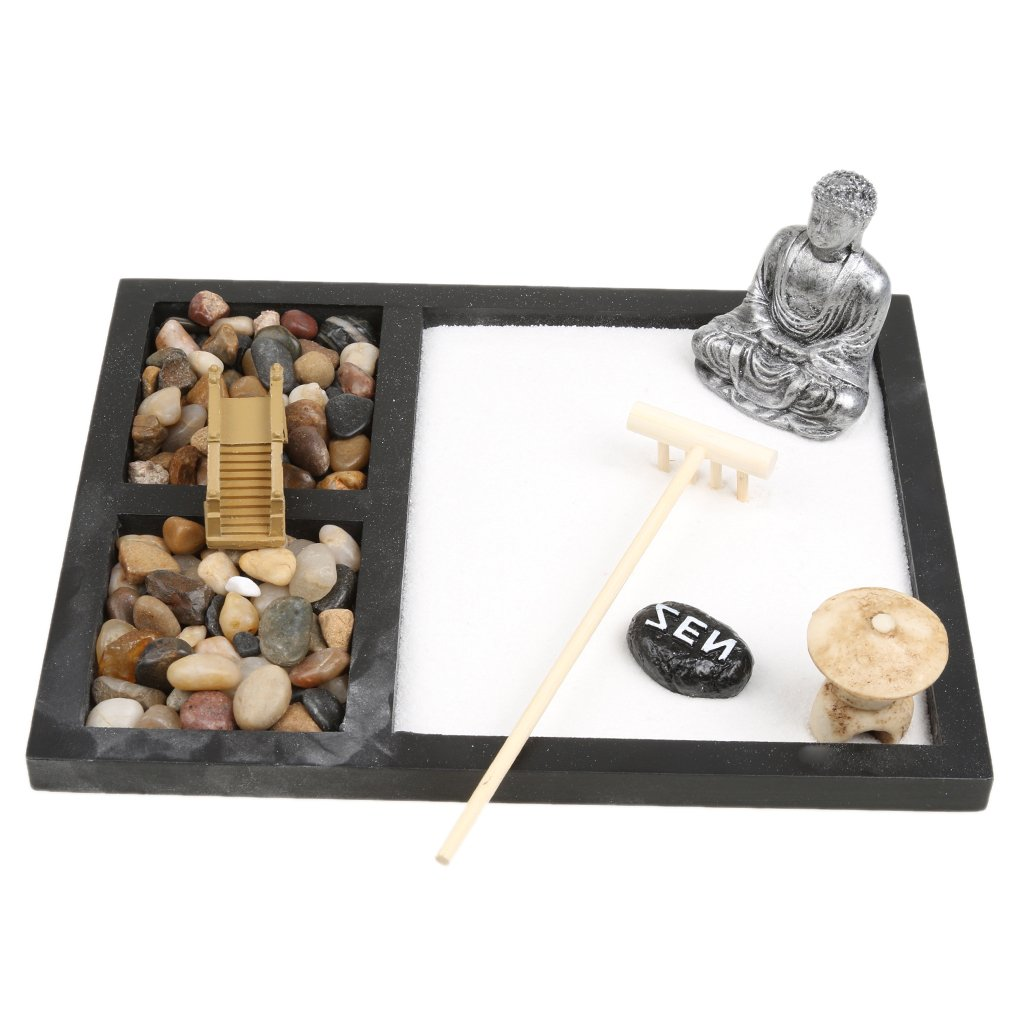 Blesiya Zen Garden Monk Buddha SAKYAMUNI Sabbia Rocce INCENSO Censer FENGSHUI Decorazione Ornamento Figurines Home Table Top - #11