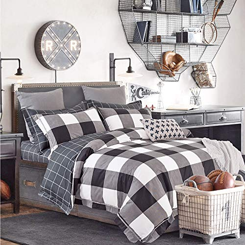 FADFAY Duvet Cover Queen Plaid Bedding Black and White 100% Cotton Hypoallergenic with Hidden Zipper Closure Buffalo Check Bedding Set 3-Piece:1duvet Cover & 2pillowcases Queen Size
