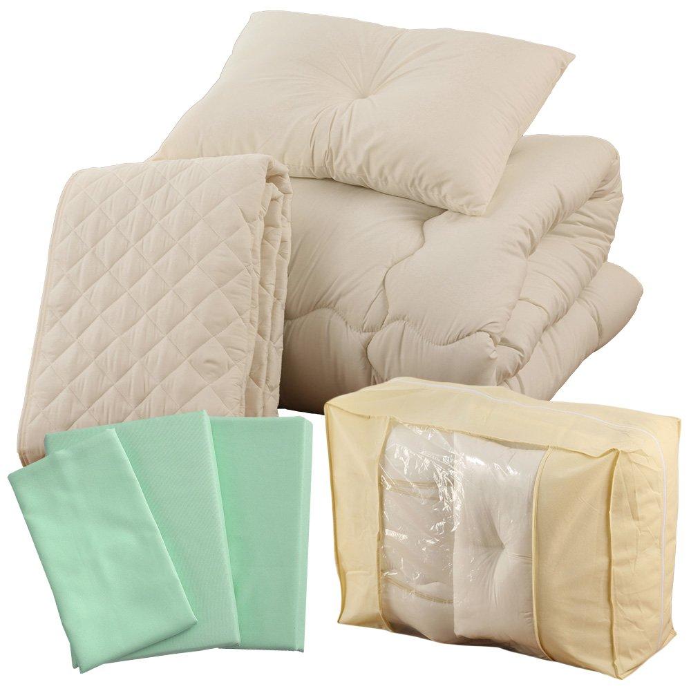 ベッド用9点セット ダブルサイズ 高品質 A093-D014DB045GR ダブル すぐに使える ムジ柄パステルグリーン ムジ柄 B01MD13FX2 ダブルサイズ ムジ柄パステルグリーン パステルグリーン