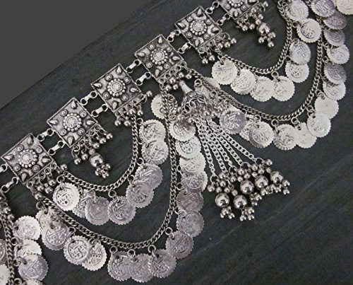 Handcrafted Womens Fashion Belt   Metal Link Chain Coin Medallion Tassel Fringe Tribal Kuchi Belly Dance Festival Vintage Bohemian Gypsy Hippie Jewelry   Boho Wedding Sash Hip Waist Novelty Accessory by IndiaStop (Image #3)