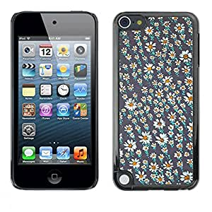 TopCaseStore / Snap On Hard Back Shell Rubber Case Protection Skin Cover - Wallpaper Daisy Grey White Summer - Apple iPod Touch 5