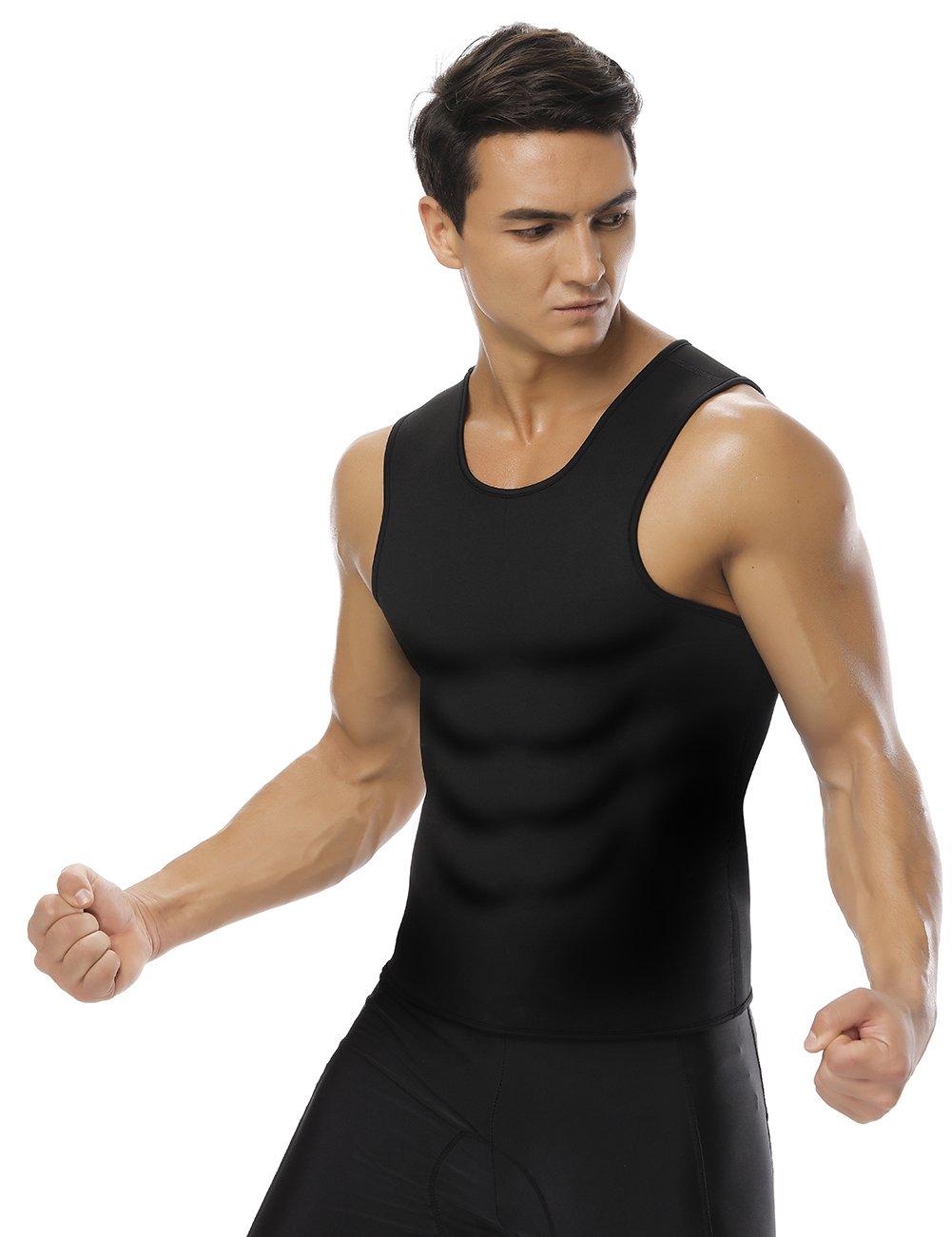 HEXIN Herren Slimming Sauna Shirt Sweat Weste Neopren Body Shaper Tank Top Gewicht Verlust Kein Rei/ßverschluss bleigeschossen X L Gr/ö/ße